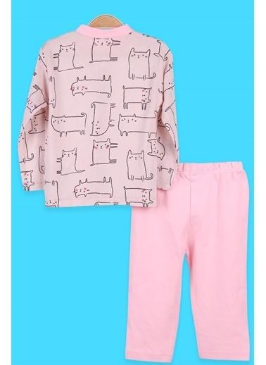 Breeze Kız Bebek Pijama Takımı Çıtçıtlı Kedili Pudra (0-3 Ay-9 Ay) Pudra